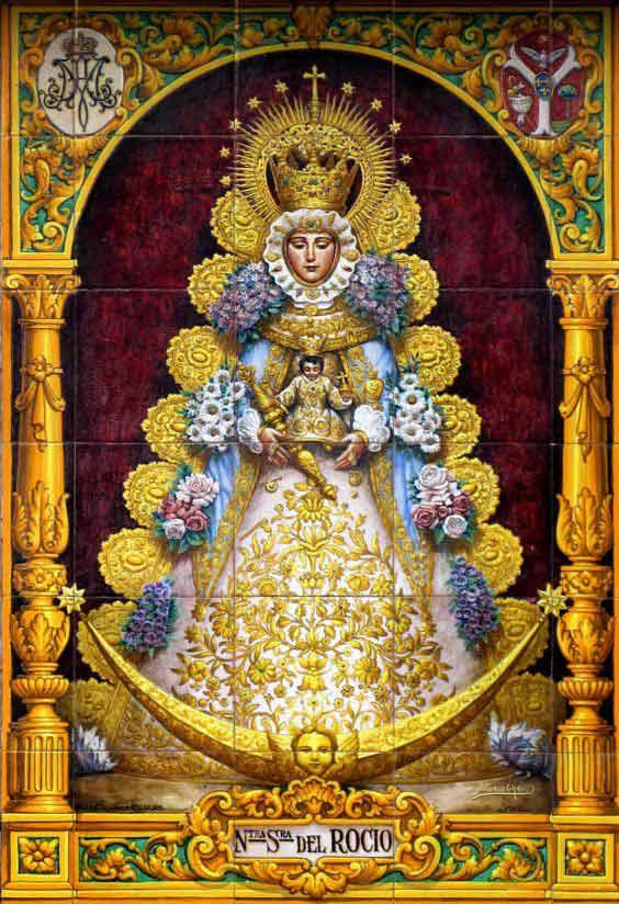 Virgen-del Rocío azulejo-pintura