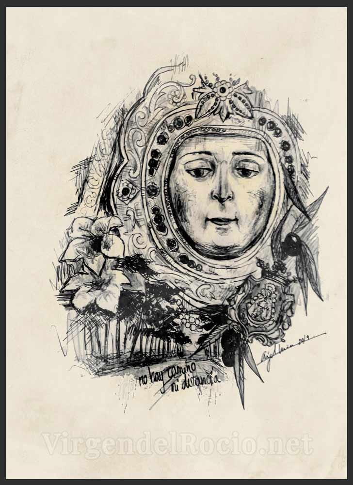 Dibujo rostro Virgen del Rocío