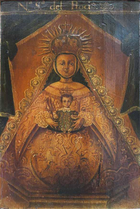 oleo Virgen del Rocío tabla Parroquia Almonte
