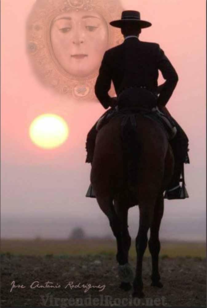 Puesta de sol Virgen del Rocío y caballo