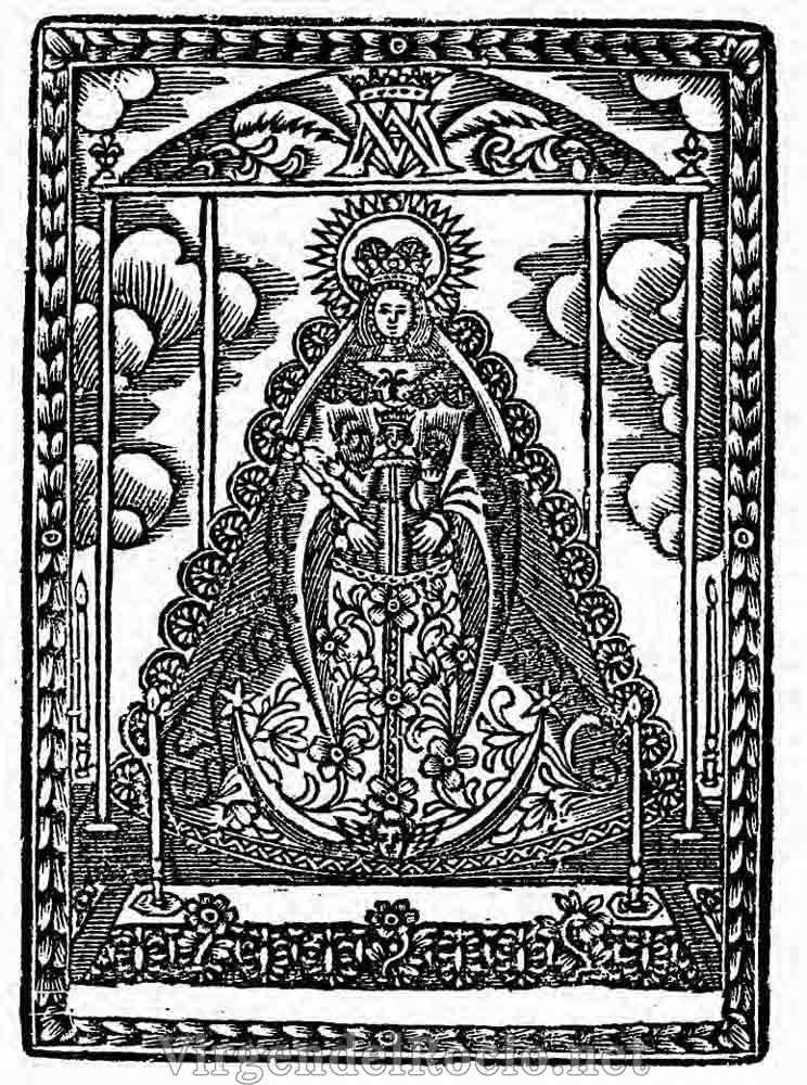 Litografía Virgen del Rocío en andas procesionales
