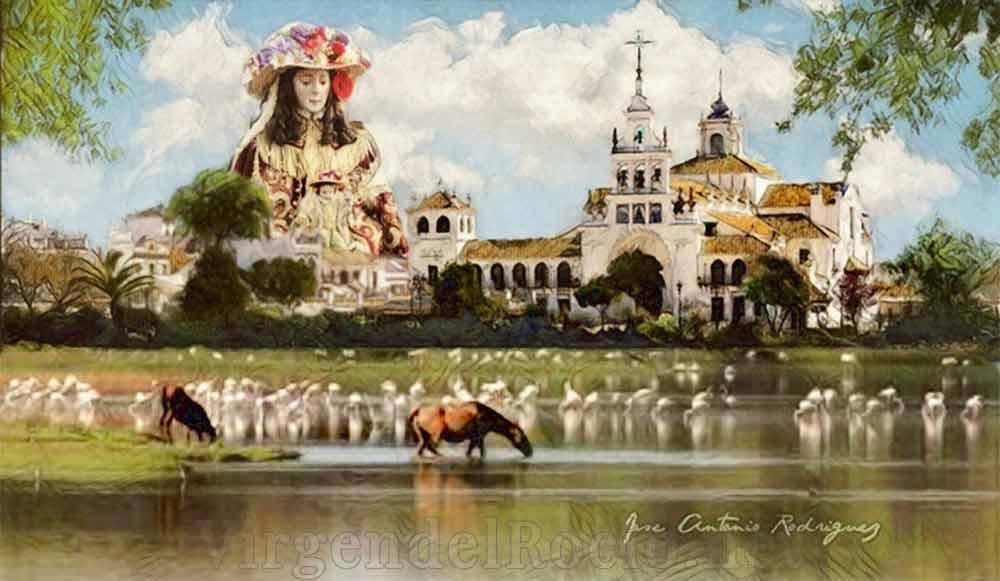 Ermita Virgen del Rocío sobre marismas