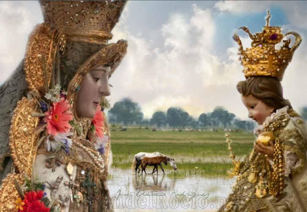 Virgen del Rocío frente a niño