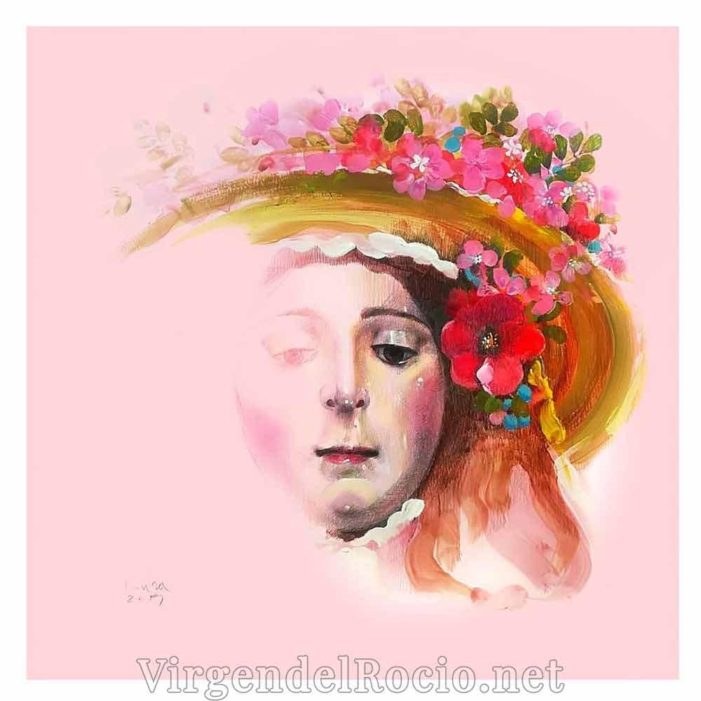 Acuarela cara Virgen del Rocío