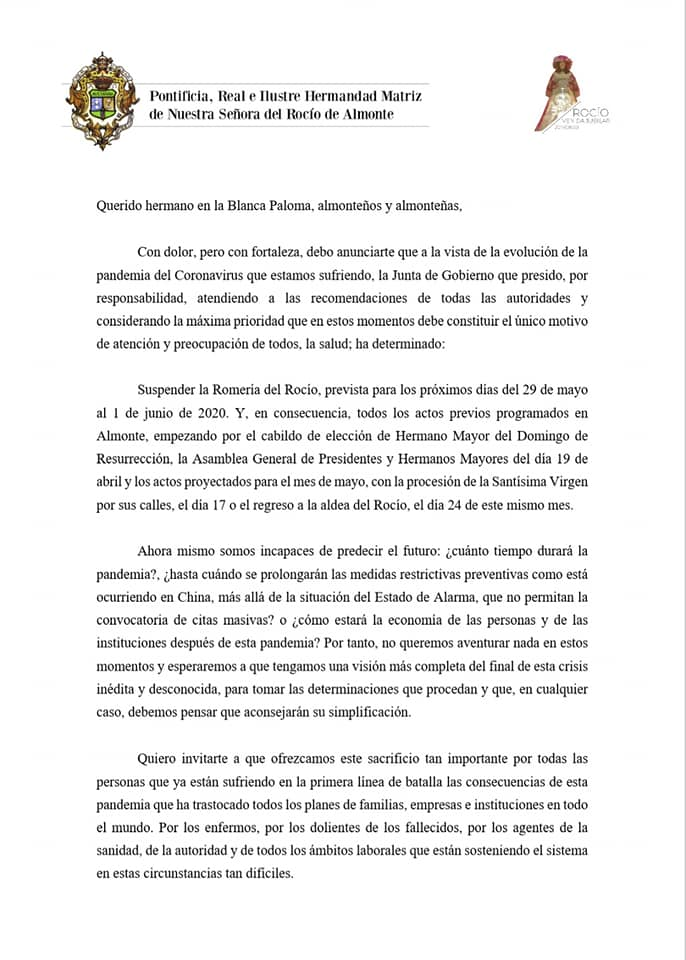 Comunicado cancelación romería Virgen del Rocío