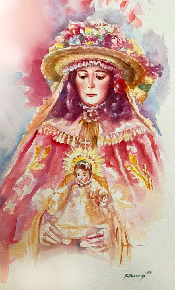 Pintura Virgen del Rocío de Felipe Herreros