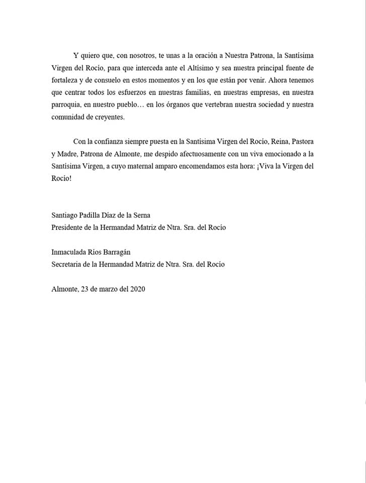 Comunicado cancelación romería Virgen del Rocío 2